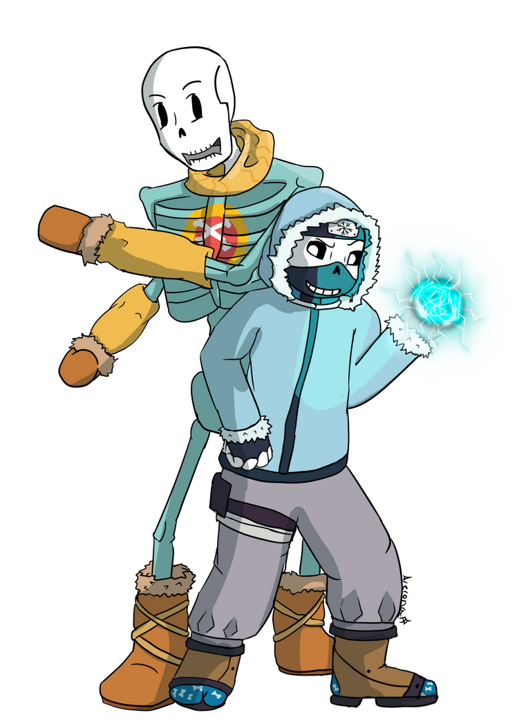 Request Celebration #4 Ninjatale Sans and Papyrus by Arerona