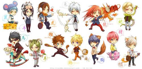 Chinese Zodiac - School Boys by LanWu