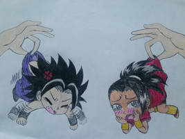 Chibi Kale and Caulifla Caught by dcb2art