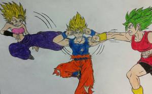 Goku vs Caulifla and Kale by dcb2art