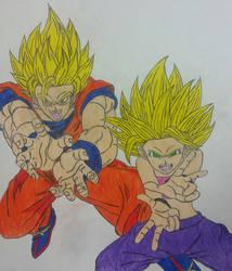 Goku X Caulifla: Crush-Kamehameha. by dcb2art
