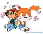 Chibi cuddle Ash and Misty by BlueGamerCatLady01