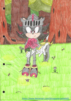Lancelot Shadow giving you a rose by BlueGamerCatLady01