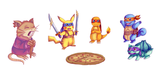 .:TMNT x PKMN:. Let's have some pizza! by N-Lilix