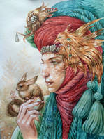 Cat nomad with pet by DalfaArt