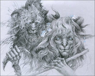 The old faun and his son by DalfaArt