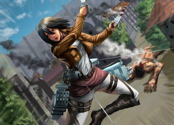 Mikasa(Attack on Titan) by Colorstormu