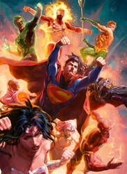 Justice League trading cards by Xermanico