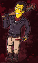 Negan and Lucille II (Simpson Style) by TheWalkerPrieton