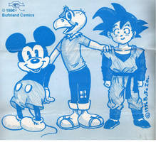 Mickey, Condorito y Goku by Bufoland