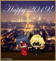 Happy 2019 - Miraculous Ladygug and Chat Noir by LOVEttini