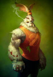 Serious bunny by Rahmatozz