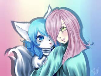 Wolfy and Angel by kaminekoshi