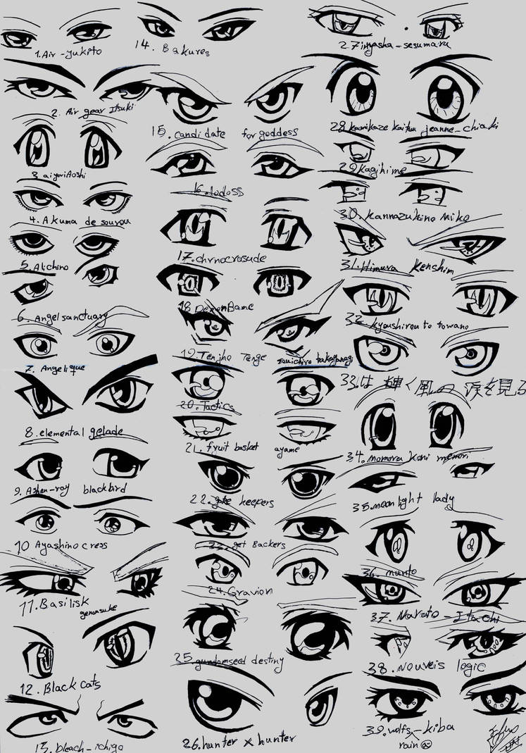 39 male anime eyes by run streetart