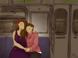 Sister Reunion on New York Subway by AIRanimechiic
