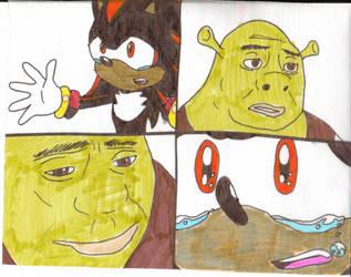 Shadow begs Shrek by cmara