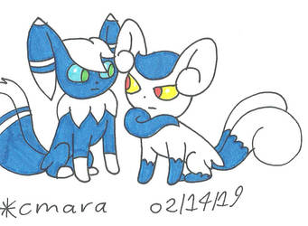 couple of Meowstic by cmara
