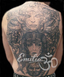 Back piece Giger style by EmiliaTattoo