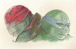 Inktober: Leo and Raph 2016 by AlessandraDC