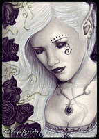 ACEO -- Black Rose Immortal by ElvenstarArt