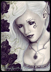ACEO -- Black Rose Immortal by ElvenstarArt