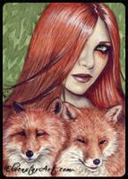 ACEO -- Foxy by ElvenstarArt