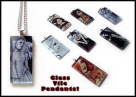 Glass Tile Pendants by ElvenstarArt