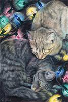 Christmas Kitties by ElvenstarArt