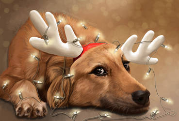 Xmas Tangled - Little Reindeer Dog by TomsGG