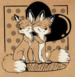 Foxy and hearts by ArtyMadCow