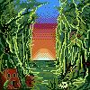Pixel art sunset on jungle by Khov97