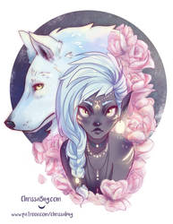 Goddess of the Wolf and Moon by ChrissaBug