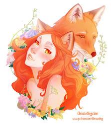 Goddess of the Fox and Summer by ChrissaBug