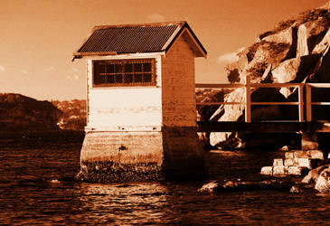 Cabin On The Harbour - Sepia Copy by davox1