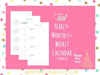 Printable Personal Planner Refill 2016, Teal by MsVampireYuki