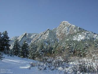 Boulder Flatirons in Snow by zode