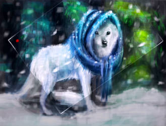 Day47 Blue Scarf Wolfy by Foxeus