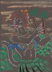 Hula Weasel by duraluminwolf