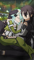 Sinon and Kirito GGO by Pikarty10