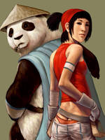 Audri and the panda by JeffChangArt