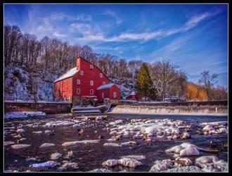 Red Mill in Winter by Dracoart