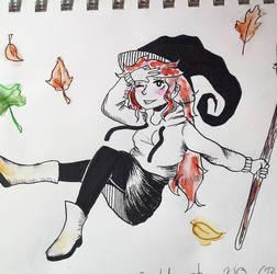 Day 1 Inktober: Seasonal Witch by MidoriAoki