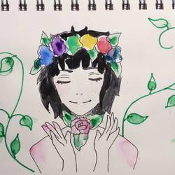 Day 4 Inktober: Garden Witch by MidoriAoki