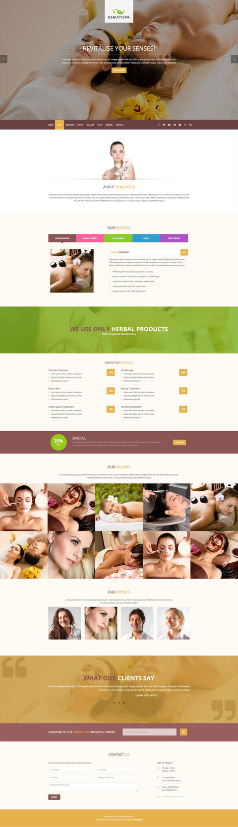 Spa Landing Page Template by Saptarang