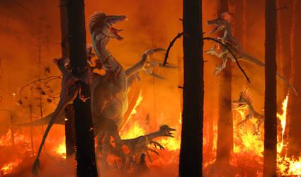 Therizinosaurus vs Velociraptor by Herschel-Hoffmeyer