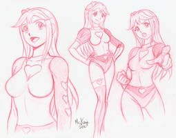 Pulsar Pureheart sketches by RedShoulder
