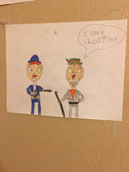 Evelin and Scotty With Guns by cartoonrevenge