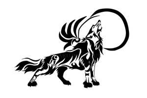 Howling Moon Tribal Wolf by OtakuWolfCub
