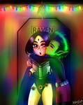 3. Beast Boy and Raven - Stealing a xmas kiss by McAnime-Art