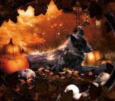 Pumpkin Wolf by MelFeanen